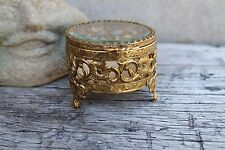 Small Vtg Gold Ormolu Round Clear  Beveled Glass Jewelry Box, Jewelry Casket