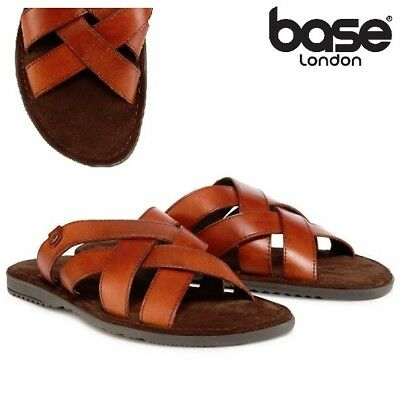 Base London APOLLO Mens Washed Leather Summer Casual Comfy Mule Strappy Sandals
