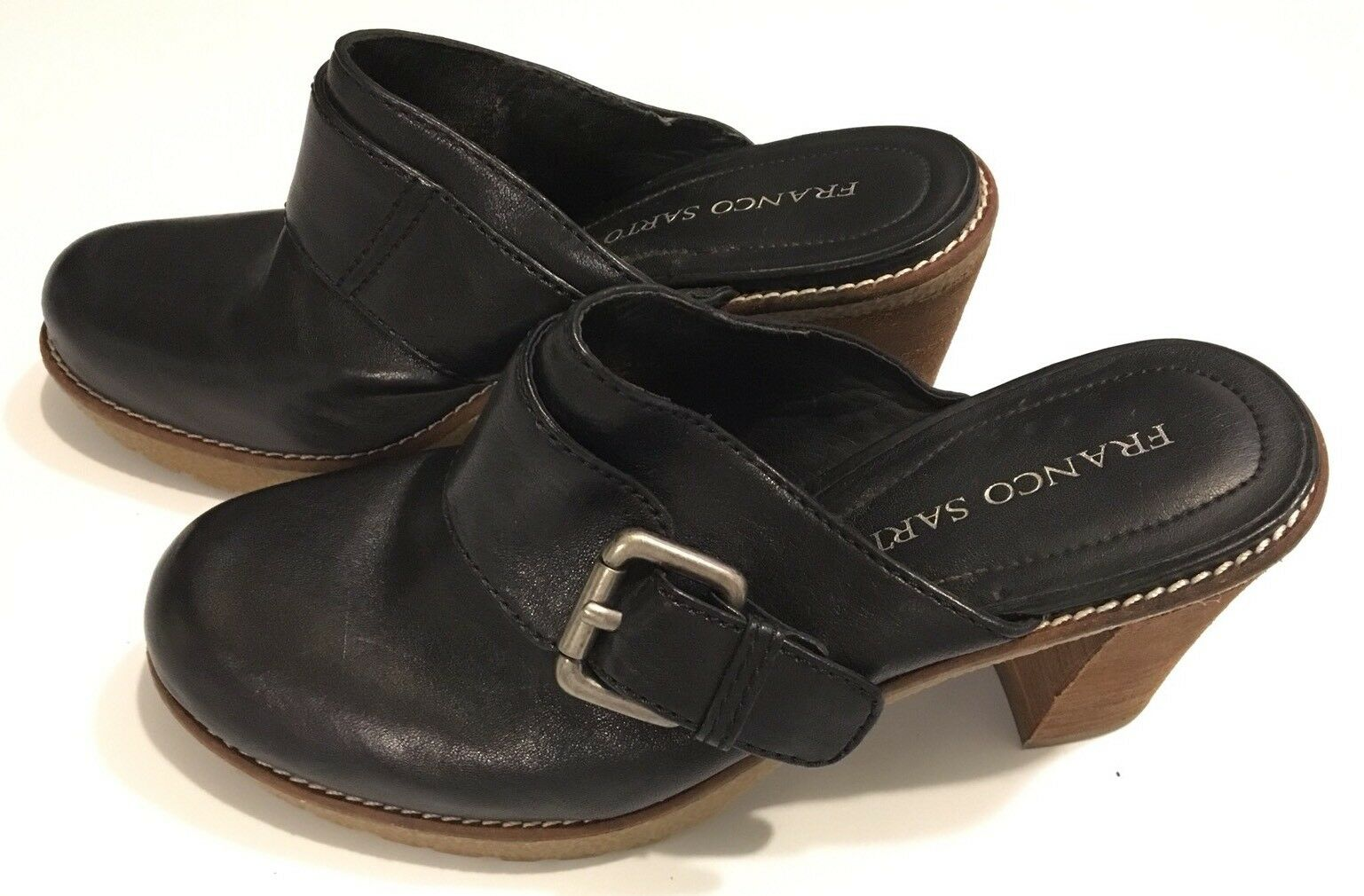 Franco Sarto Women's 8.5 Black Leather Platform Buckle Shoes Block Heels Clogs Buckle Platform f1ce1a