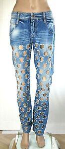 Jeans Donna Pantaloni MET Italy SA112 Gamba Dritta Blu Tg 27 veste grande