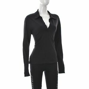 PAUW-Amsterdam-Mujer-Cuello-de-Polo-Camiseta-Con-En-V-Manga-Larga-Negro-Talla-4