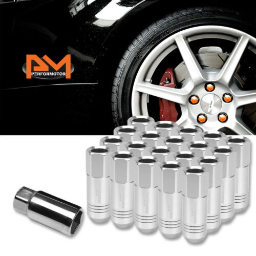 M12X1.5 Silver JDM Open End Conical Wheel Lug Nuts+Extension 20mmx60mm Tall 20Pc