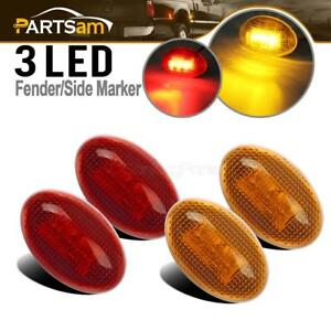 For-Ford-F350-1999-2010-LED-Side-Fender-Marker-Dual-Bed-Light-2x-Front-amp-2x-Rear