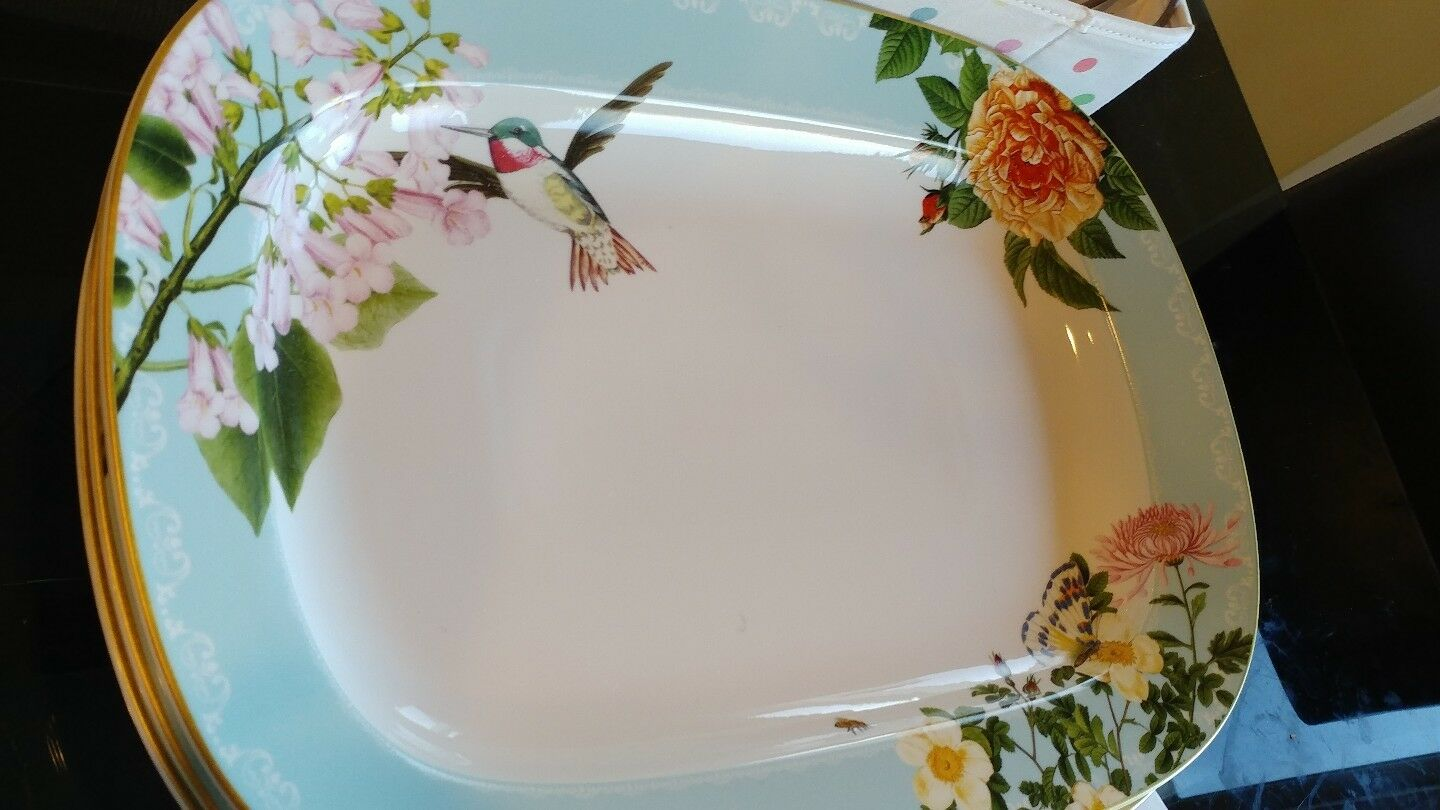 Williams Sonoma Easter Spring Garden large serving platter floral New