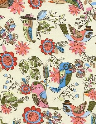 TIMELESS TREASURES FUN BIRDS FLOWERS CREAM 100% COTTON BTY