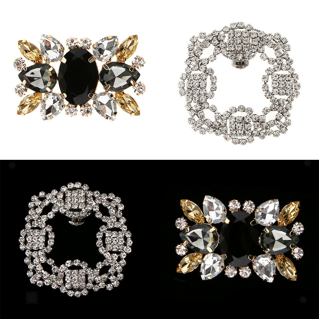 2PAIRS Rectangle Design Wedding Party Crystals Clutch Dress Hat Shoe Clips