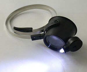 Hot-Watch-Repair-Jeweler-Head-Glasses-One-Eye-Magnifier-Loupe-15X-with-LED-Light