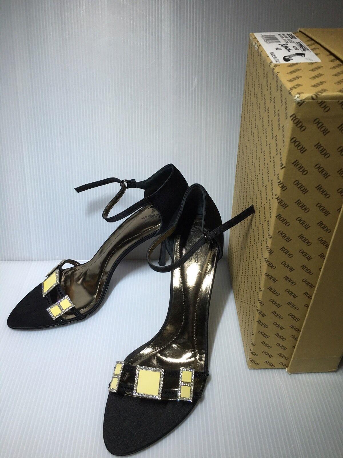 NEW-Rodo Stylish Satin Blk Leather Strappy w Sparkles shoes Sz.40 - 450
