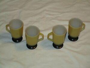 Set-4-Anchor-Hocking-Fire-King-Footed-Pedestal-Mugs-yellow-black