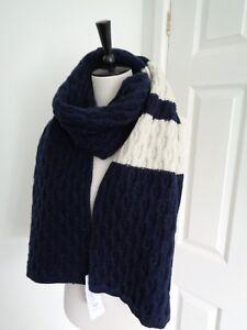 BNWT Lacoste Navy Vanilla Colour Block Wide Knitted Scarf   eBay 0224702bda9