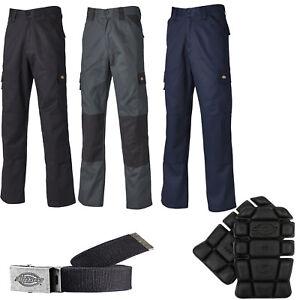 Dickies-Everyday-Work-Trousers-Knee-Pads-Clip-Belts-Men-039-s-Trade-Hardwearing
