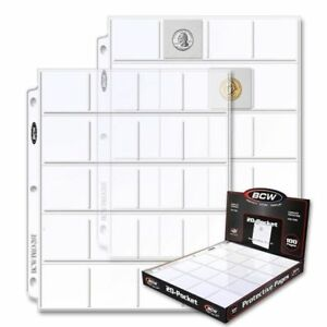 100-Box-of-BCW-20-Pocket-Album-Pages-for-2x2-Coin-Flips-binder-sheets