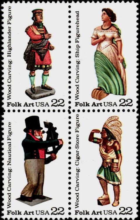 1986 22c Woodcarved Figurines, Block of 4 Scott 2240-43