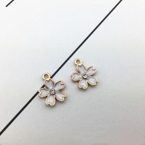 50pcs Cherry Blossom Alloy Jewelry Making Drop Oil Pendant DIY Accessories