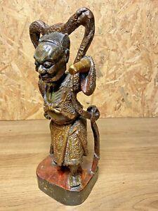 SCULPTURE  BOIS GUERRIER JAPONAIS  ANCIEN, DORURE, ART ASIATIQUE, ETHNIQUE