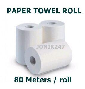 BULK, HAND PAPER TOWEL ROLL, 16 ROLLS, 80M/ ROLLS, NEW