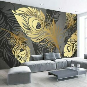Details About 3d Modern Grey Gold Feather Leaf Wall Mural Wallpaper Living Room Bedroom Lounge