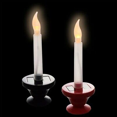 6.25 in Choose Red or Black Christmas House Solar-Powered LED Window Candle