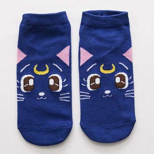 1 Para Anime Sailor Moon Luna Artemis Diana Katze Frauen Baumwollmischung Socken