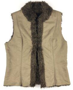 KAREN-KANE-Women-s-Brown-Biege-Faux-Suede-Fur-Vest-MSRP-159-XL
