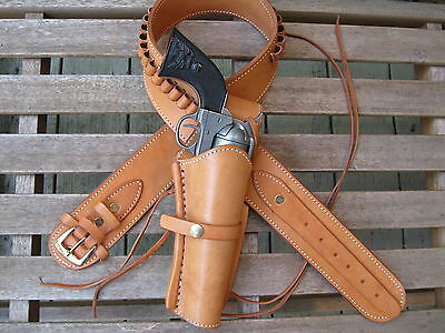 """Black 34/"""" to 52/"""" .22 Caliber Leather Smooth Holster Gun Belt Combo"""