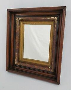 Antique Walnut Wood Gold Gilt Deep Well Picture Framed Mirror Eastlake Victorian
