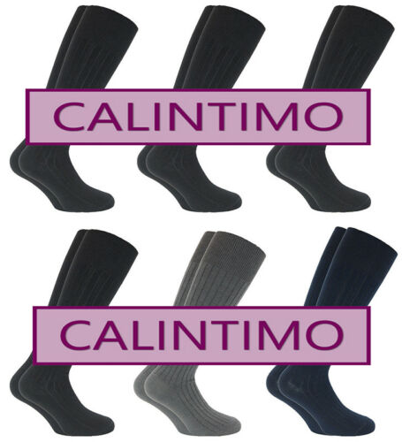 CALZE DA UOMO SANITARIE CORTE LUNGHE 6-8 PAIA IN CALDO COTONE SENZA ELASTICO