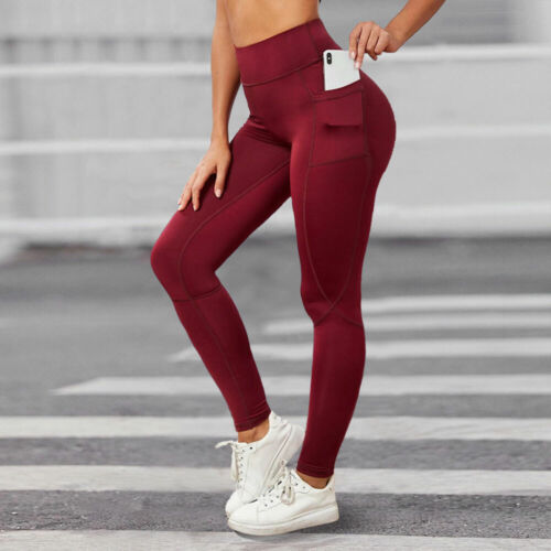Womens Yoga Pants with Pocket High Waisted Sports Fitness GYM Leggings S M L XL