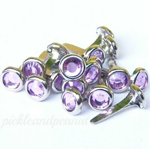 6mm Lilac Rhinestone Brads Diamante Jewel Gem Crystal Craft Scrapbooking