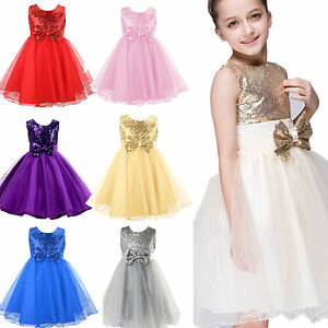 Flower Girl Dress Kids Birthday Wedding Bridesmaid Pageant Gown Formal Dresses