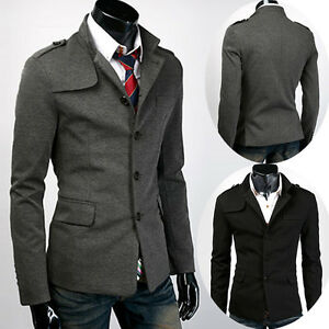 Mens Slim Fit Stylish Casual Trench Coat Button Peacoat Blazer ...