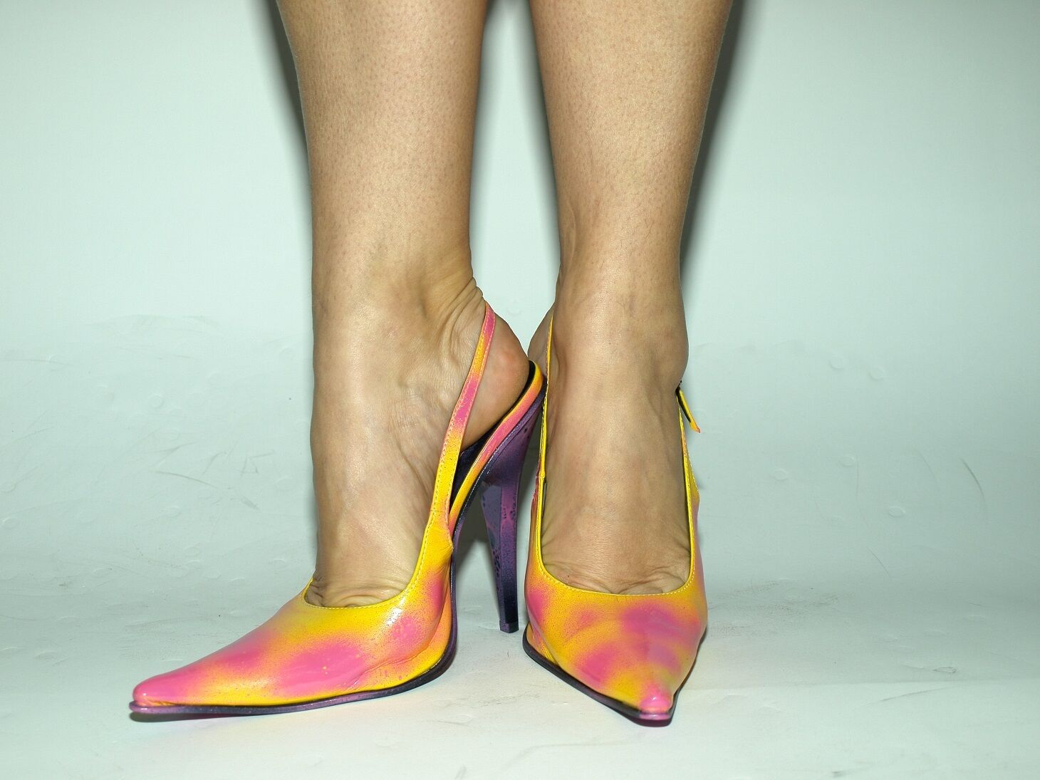 PATENT LEATHER PINK--YELOW PRODUCER PUMPS SIZE 5-16 HEELS-5,5'- PRODUCER PINK--YELOW POLAND FS 1497 eeba7b