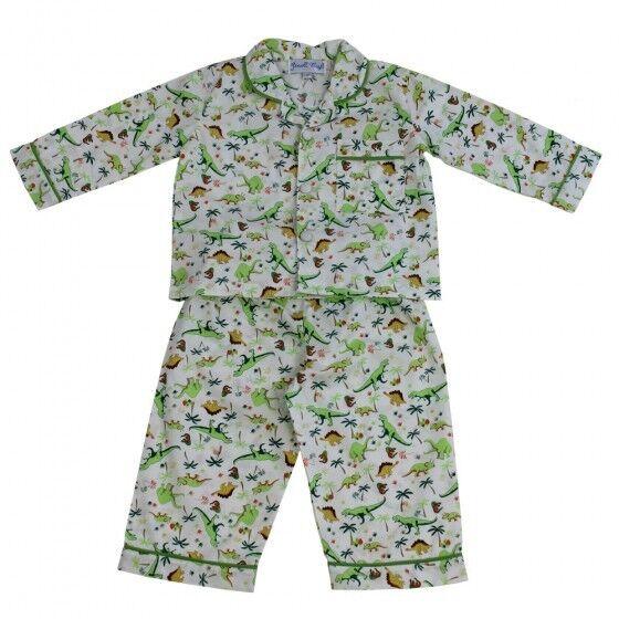 New Powell Craft Traditional 100% Cotton Boys Pyjamas - Dinosaur/T-Rex design