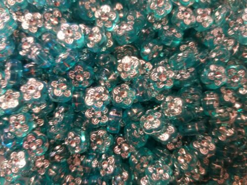 Lot 500 pcs Turquoise Rhinestone Flower Diamonettes Plastic Craft Jewelry Beads
