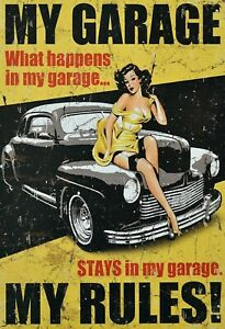 My-Garage-My-Rules-Pin-Up-Girl-Tole-Plaque-Etain-Signer-20-X-30-cm-FA0367