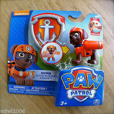 Nickelodeon PAW PATROL ZUMA Action Pack Pup & BADGE Snap-On SCUBA Transforms