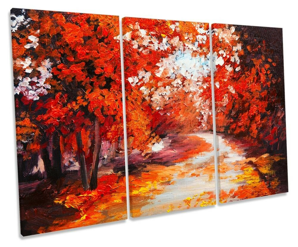 rot Forest Landscape Autumn TREBLE CANVAS Wand KunstWORK Drucken Kunst