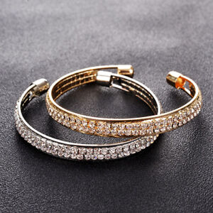 Fashion-Women-Rhinestone-Chain-Bracelet-Cuff-Wrap-Bangle-Jewelry-Adjustable