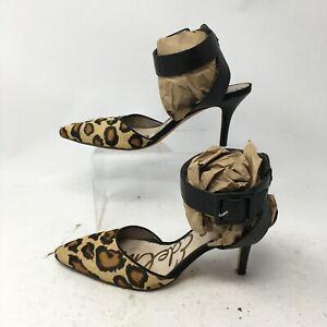 Sam Edelman Okala Leopard Print Ankle Strap Heel Sandal Womens 7M Calf Hair
