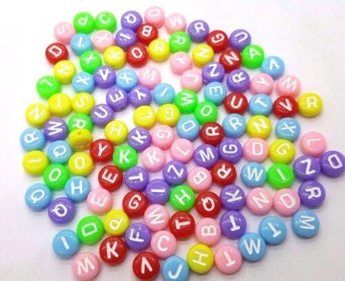 100 x 6,5 mm Mixtes Alphabet Lettre Perles-a5225