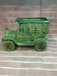 Vintage Relpo Japan #5786 Antique Car Planter Garden Vase Decor Green Brown.
