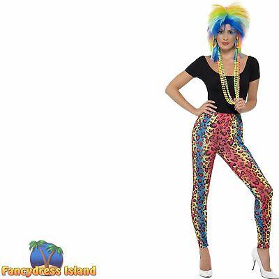 Neon Leopard Print Leggings One Size 80/'s Womens Ladies Fancy Dress Costume