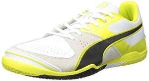 PUMA Men s Invicto Sala White Yellow Black Indoor Soccer Shoe ... 2679a0a10