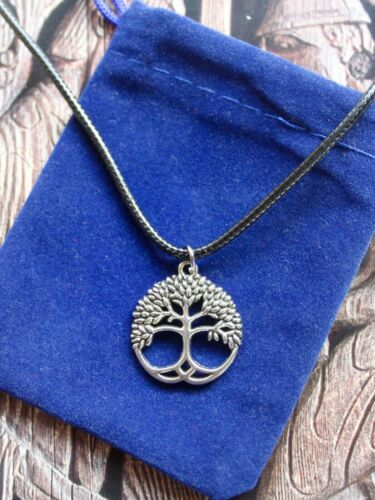 Pouch Yggdrasil Tree of Life Norse Viking Celtic Pagan Pendant Cord Necklace w