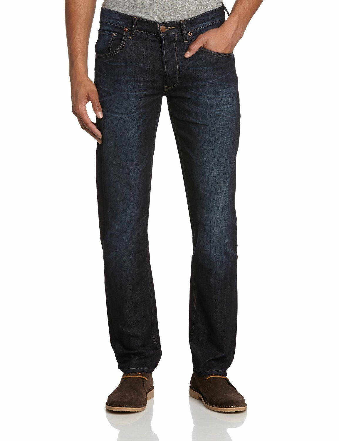 New Men's Lee Daren Slim Denim Jeans Dark Vintage Strong Hand Straight Leg Faded