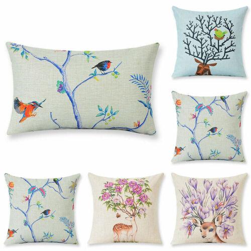 Deer Head Flower Cotton Linen Waist Cushion Cover Home Decoration Pillow Case
