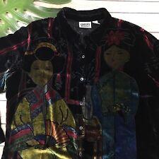 Chicos Design Blouse Size 2 L Black Crushed Velvet Asian Inspired Burnout Silk