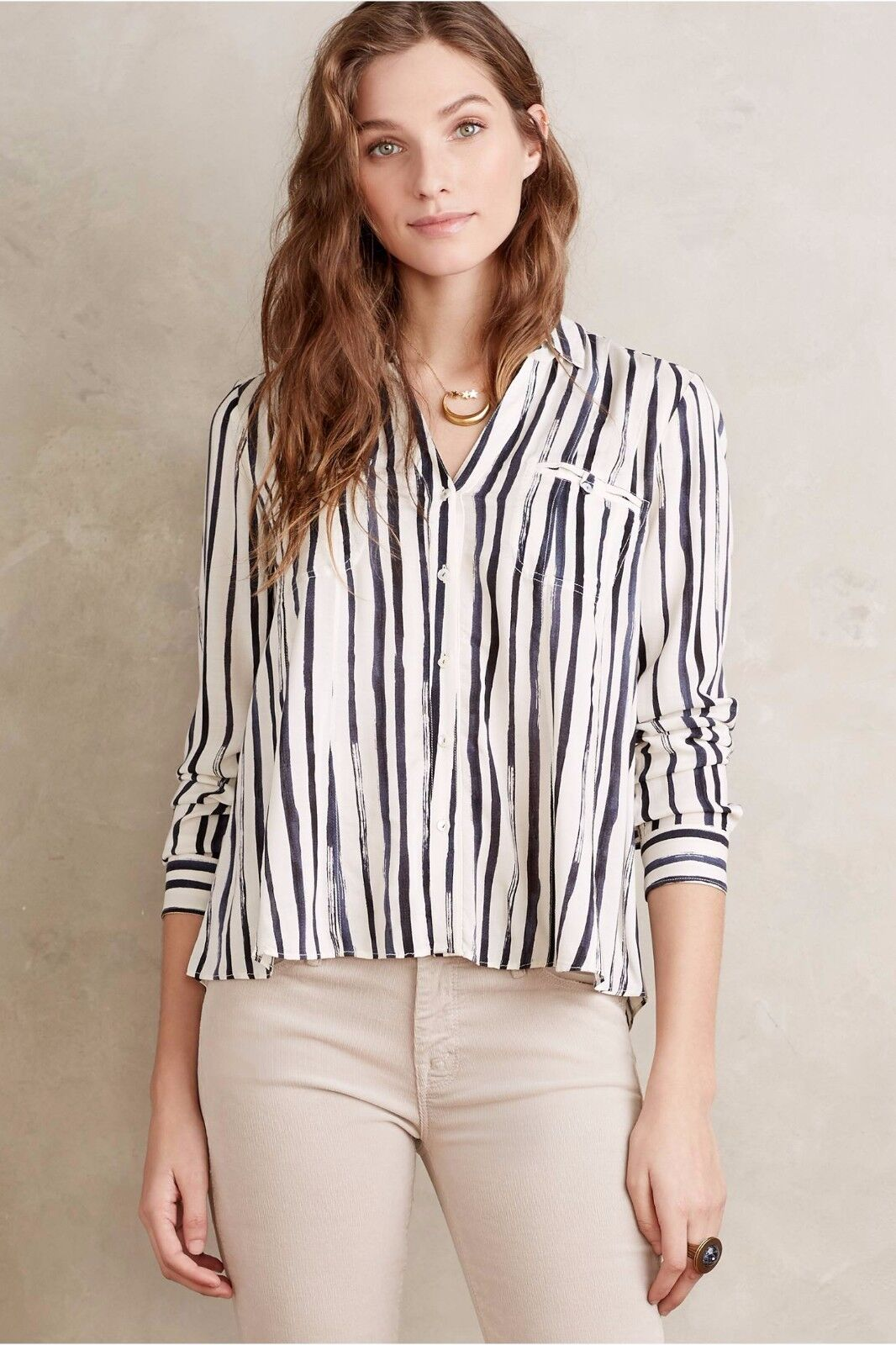 NIP ANTHROPOLOGIE by MAEVE Conversationalist Button Down, sz12, Blau stripe,