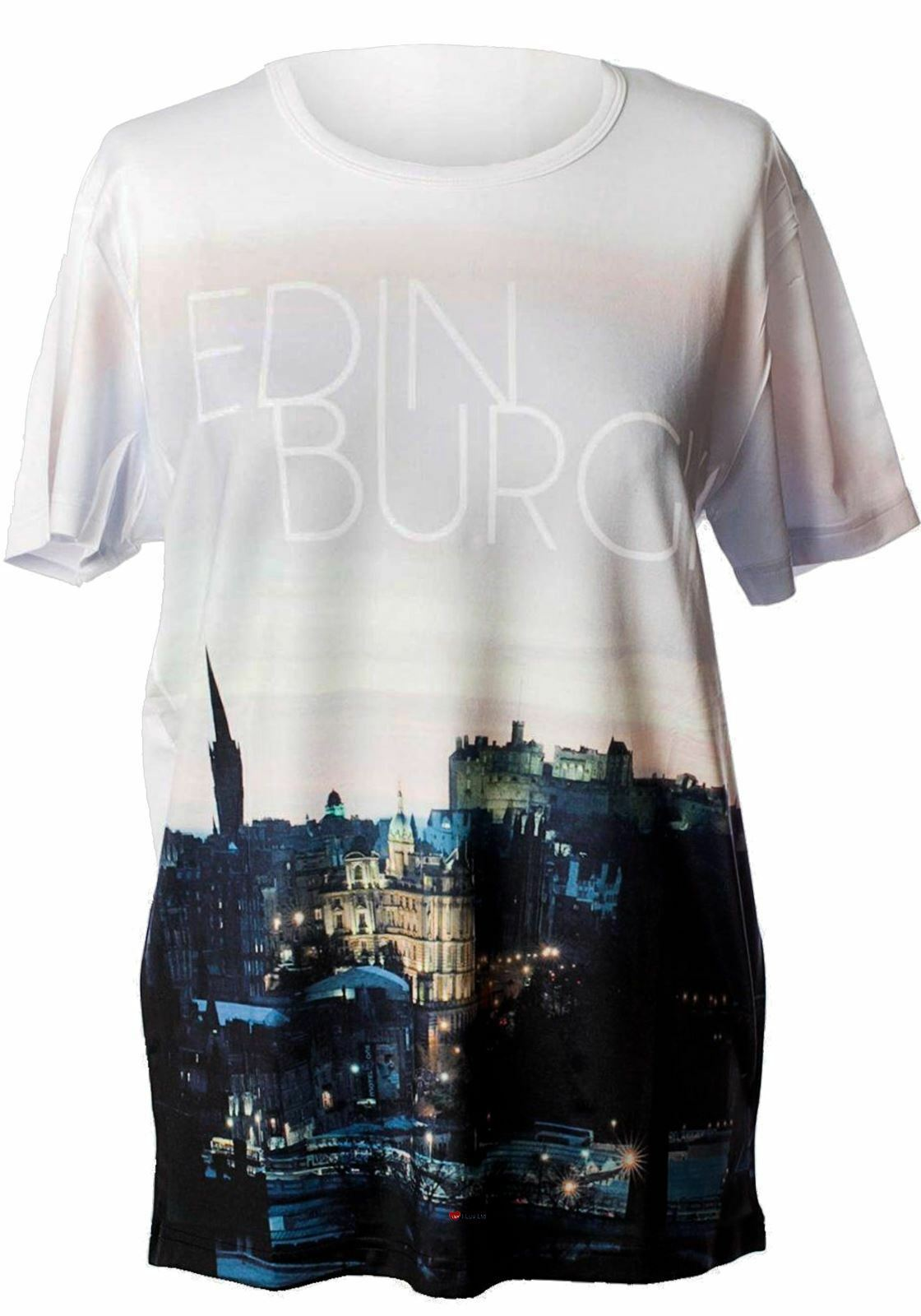 Mens Mens Mens T-Shirt Top Scotland Edinburgh Castle City Night Picture - Weiß Medium | Qualität Produkte