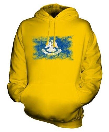 Louisiane État Drapeau Délavé Sweat à Capuche Unisexe Haut Louisianaise T-Shirt